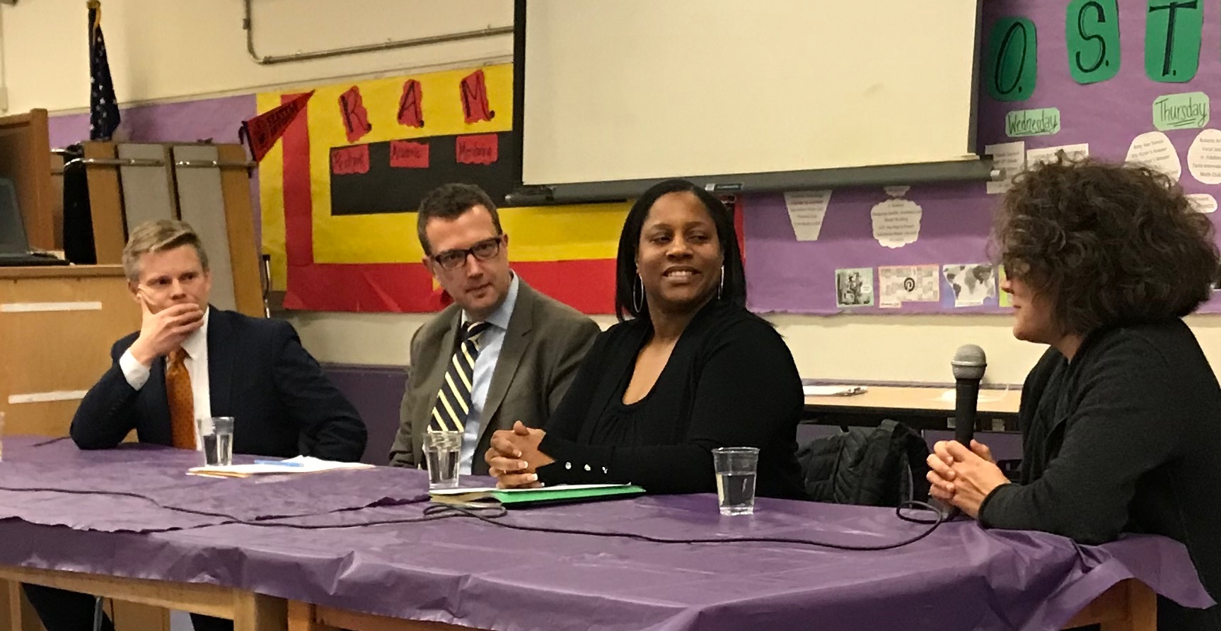State Sen. Jamie Pedersen, King County Councilmember Joe McDermott, Emijah Smith of Children's Alliance take a question from moderator Kathleen Carson at the General Meeting Jan. 28, 2019.