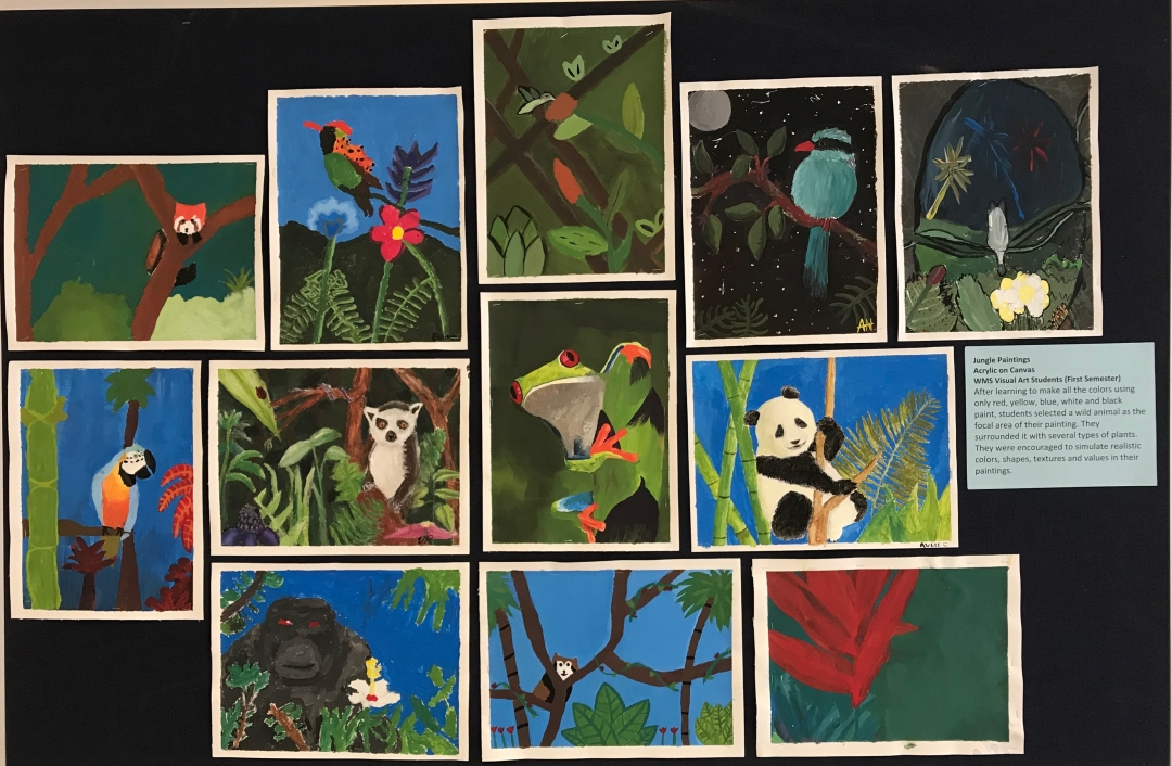 "Artwork from Semester 1's ""Jungle Animals"" unit"