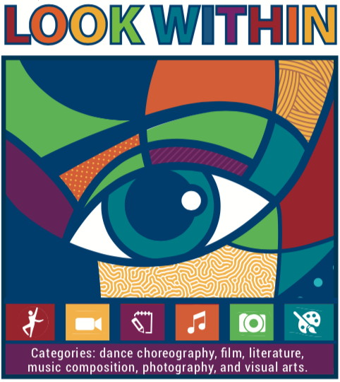 """Graphic showing a stylized eye, for """"Look Within,"""" the 2019-20 PTA Reflections Arts Contest"""