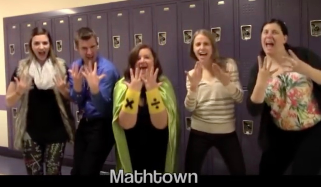 5 teachers perform in the Mathtown video from 2015-16
